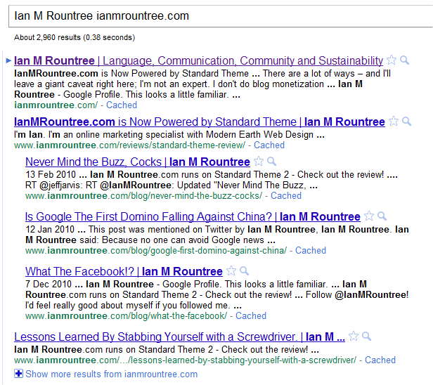 "Google Experiment - ""Ian M Rountree"" ianmrountree.com"