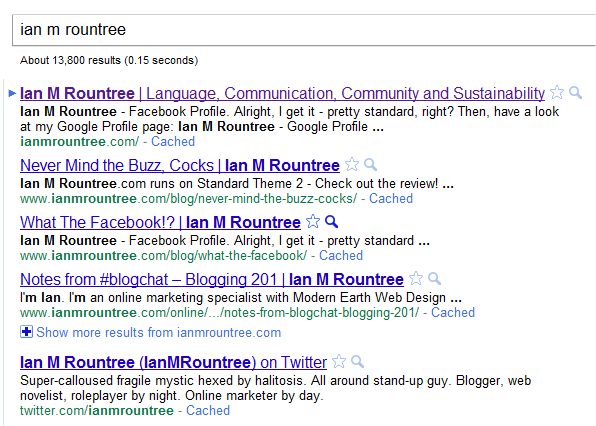 "Google search snippet for ""Ian M Rountree"""