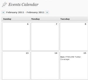 Editorial Calendar displaying Events post type in WordPress backend