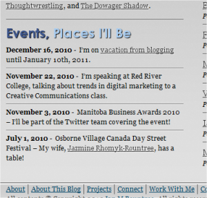 """Events, Places I'll Be"" section in my blog's footer area"