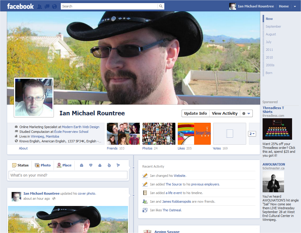 Facebook Timelines - Ian M Rountree