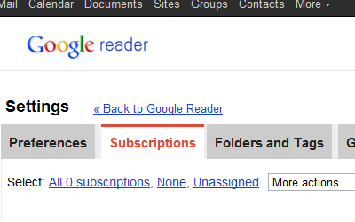 Google Reader - Blank Slate