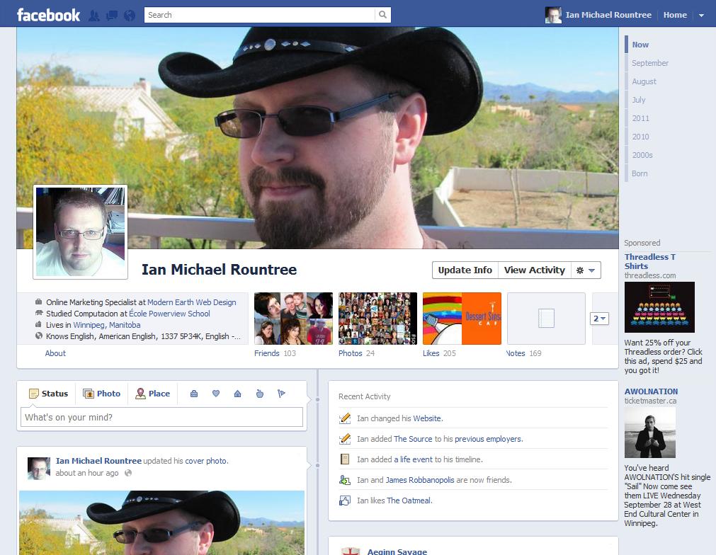 Facebook Timelines - Ian M Rountree