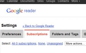 Google Reader - Blank Slate